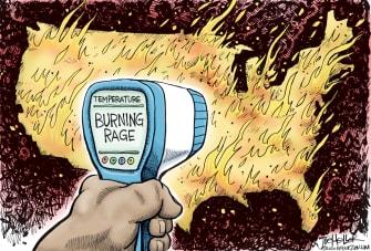 Editorial Cartoon U.S. burning rage George Floyd protests