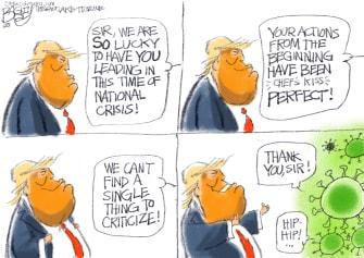 Political Cartoon U.S. Trump praised by coronavirus no agenda medical supplies