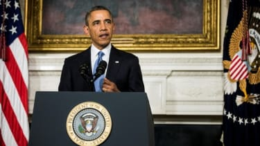 President Barack Obama announces an interim agreement on Iranian nuclear power.