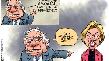 Political Cartoon U.S. Bernie Sanders Elizabeth Warren 2020