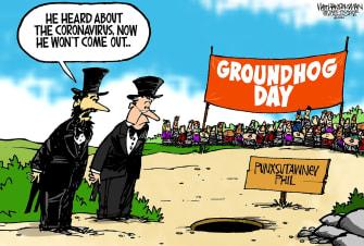Editorial Cartoon U.S. Groundhog Day Punxsutawney Phil Coronavirus celebration seasons virus