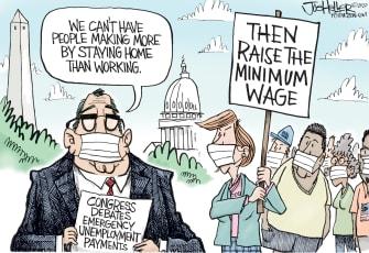 Political Cartoon U.S. unemployment benefits congress minimum wage