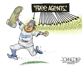 Editorial Cartoon U.S. Dodgers Justin Turner COVID