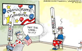 Political Cartoon U.S. DNC 2020 social distancing