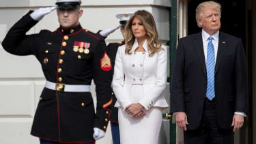 Melania Trump waits with President Trump to greet Israeli Prime Minister Benjamin Netanyahu.