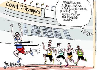 Editorial Cartoon World Trump South Korea Olympics COVID-19 sprinters medical equipment uniforms