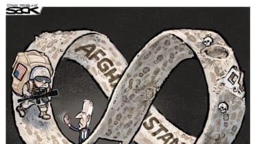 Political Cartoon U.S. biden afghanistan withdrawal