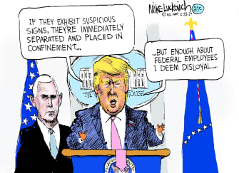 Political Cartoon U.S. Trump Pence White House disloyalty administration official family separation policy