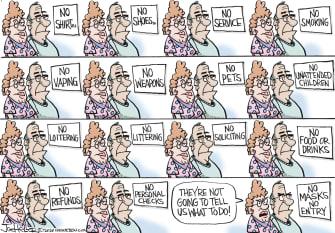 Editorial Cartoon U.S. masks signs coronavirus