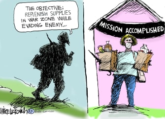 Editorial Cartoon U.S. crossing enemy lines grocery store mission accomplished