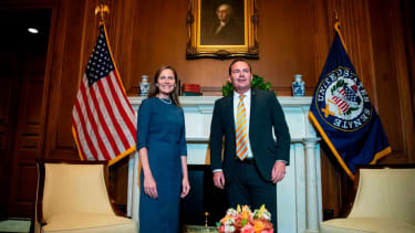 Supreme Court nominee Judge Amy Coney Barrett (L) meets with US Senator Mike Lee (R-UT) at the US Capitol in Washington, DC on September 29, 2020.