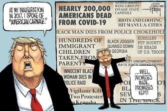 Political Cartoon U.S. Trump American Carnage 2020