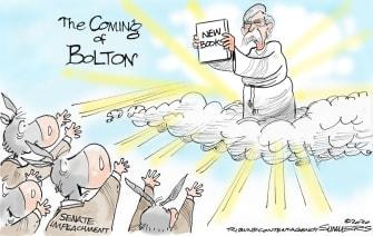 Political Cartoon U.S. Trump John Bolton democrats senate impeachment national security book