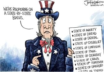 Editorial Cartoon U.S. business reopening coronavirus