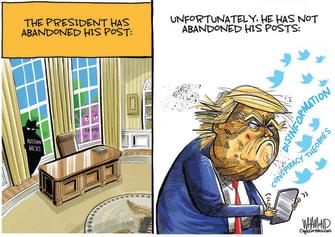 Political Cartoon U.S. Trump tweets conspiracies