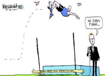 Political Cartoon U.S. biden press conference media