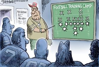 Editorial Cartoon U.S. NFL covid