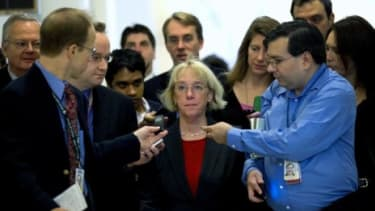 Sen. Patty Murrary (D-Wash.) is swarmed by reporters before a super committee meeting Monday: The 12-member panel announced later in the day that it had failed to reach a deal to cut the defi