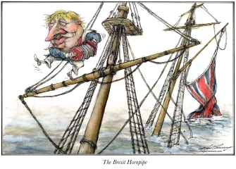 Political Cartoon World Boris Johnson Brexit EU UK sinking ship hornpipe
