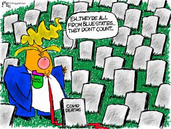 Political Cartoon U.S. Trump COVID deaths blue states