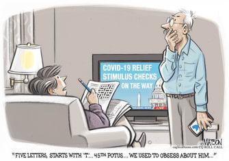 Political Cartoon U.S. trump crossword