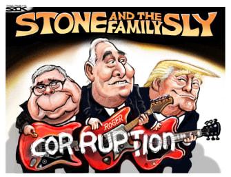 Political Cartoon U.S. Roger Stone Trump Barr Sly and the Family Stone