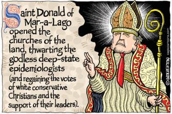 Political Cartoon U.S. Trump coronavirus church reopenings