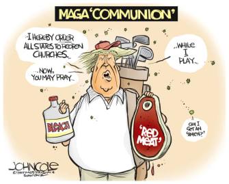 Political Cartoon U.S. Trump church lockdown coronavirus