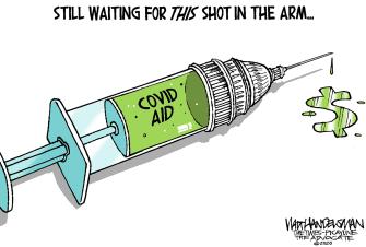 Editorial Cartoon U.S. Congress COVID relief vaccine