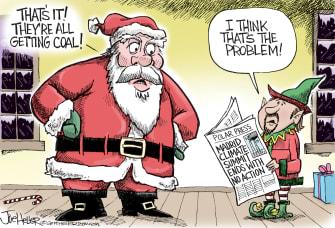 Editorial Cartoon U.S. Santa Coal Madrid Climate Summit Failure
