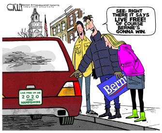 Political Cartoon U.S. Bernie Sanders New Hampshire Democrats primaries voters license plate
