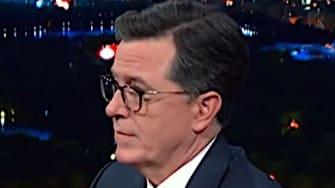 Kamala Harris and Stephen Colbert