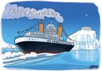 Political Cartoon U.S. Full Speed Impeachment Ship