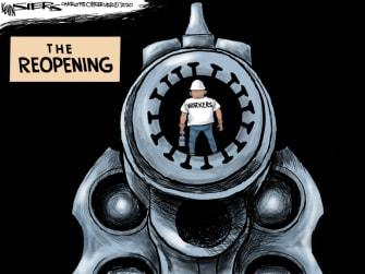 Editorial Cartoon U.S. coronavirus reopening workers danger