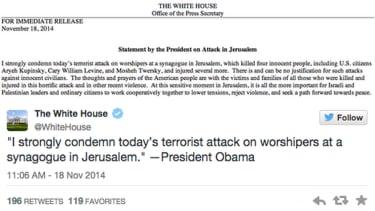 Obama on Jerusalem attack: 'No justification' for killing innocent civilians