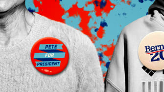 People wearing campaign buttons.