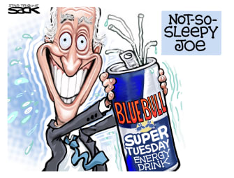 Political Cartoon U.S. Joe Biden Democrats Red Bull super tuesday primaries campaigning surge