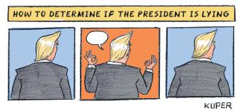 Political Cartoon U.S. Trump White House Coronavirus briefings lying hands