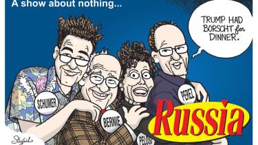 Political Cartoon U.S. Seinfeld Democrats Chuc Schumer Bernie Sanders Nancy Pelosi Tom Perez