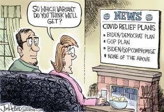 Editorial Cartoon U.S. covid variant vaccines