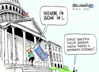 Political Cartoon U.S. marjorie taylor greene capitol riot