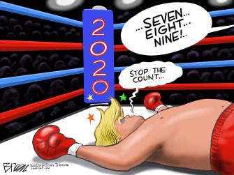 Political Cartoon U.S. Trump 2020 stop count votes