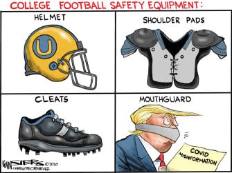 Political Cartoon U.S President Trump Mouth Guard Coronavirus Canceled Football