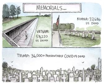 Political Cartoon U.S. Trump coronavirus memorial