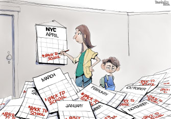 Editorial Cartoon U.S. nyc schools covid