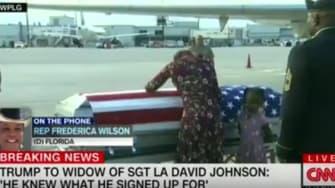 Myeshia Johnson at her husband's casket.