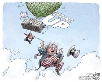 Political Cartoon U.S. Trump COVID giving up