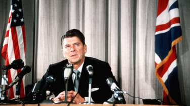 American President Ronald Reagan during a press conference.