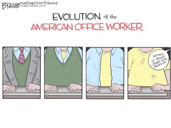 Editorial Cartoon U.S. office workers coronavirus