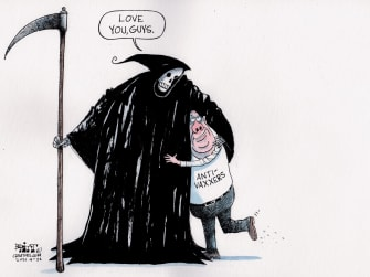 Editorial Cartoon U.S. anti vaxxers covid
